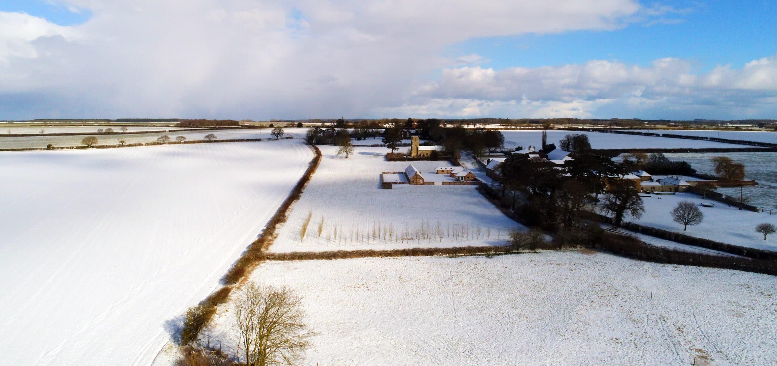 Brazenhall Barns Aerial Winter View