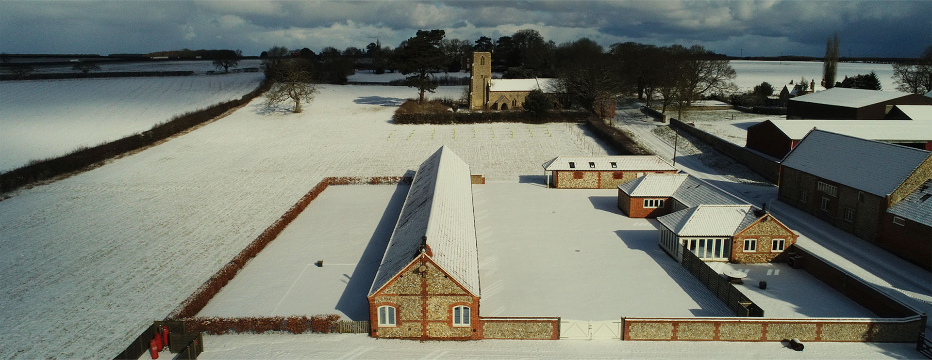 Brazenhall Barns Areal view winter - slider